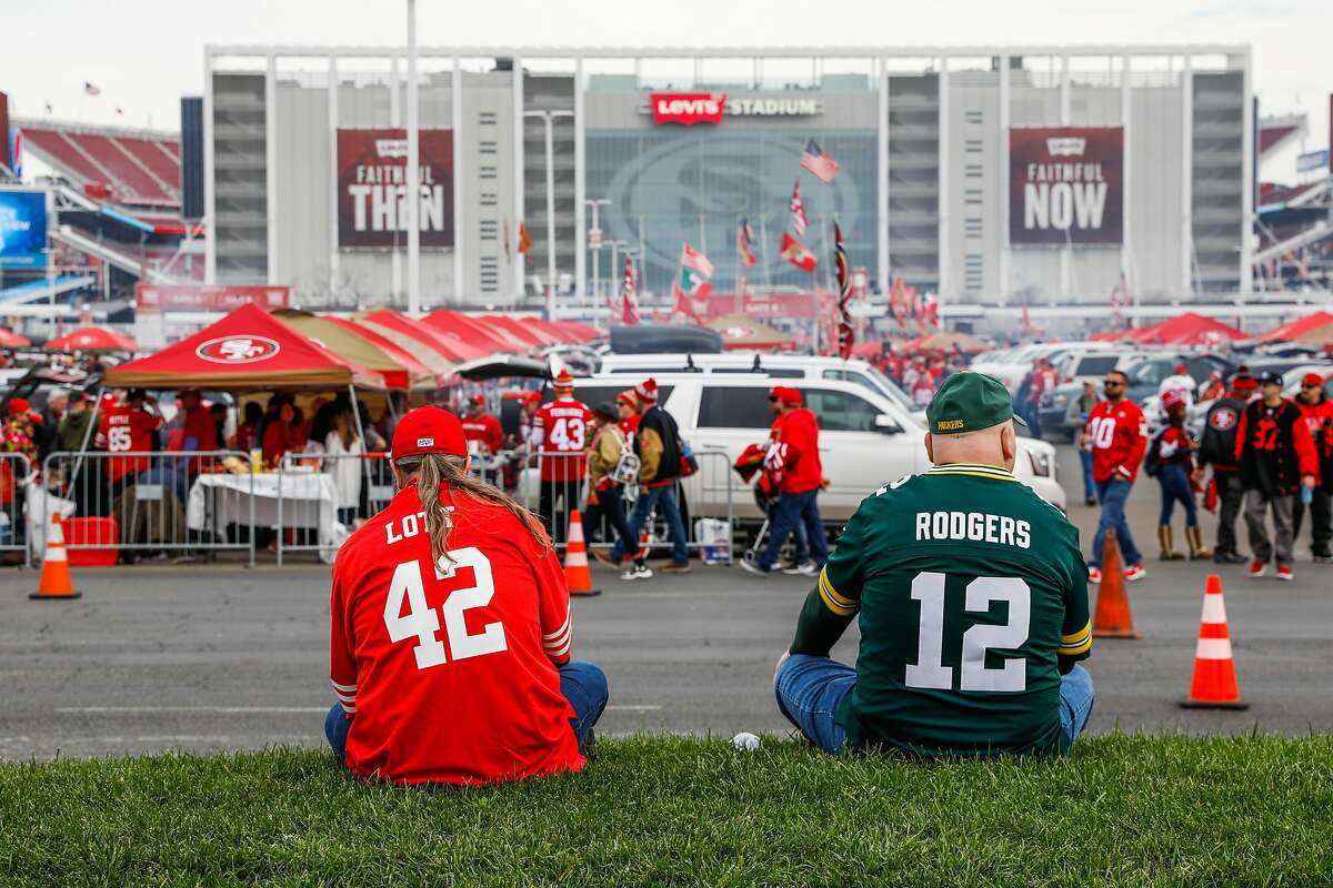 Brother-in-laws Carig Ball (left) and Andy Knott who both travelled from Windsor, Ontario wait outside of Levi�s stadium ahead of the NFC Championship game between the San Francisco 49ers and the Green Bay Packers on Sunday, Jan. 19, 2020 in Santa Clara, California.