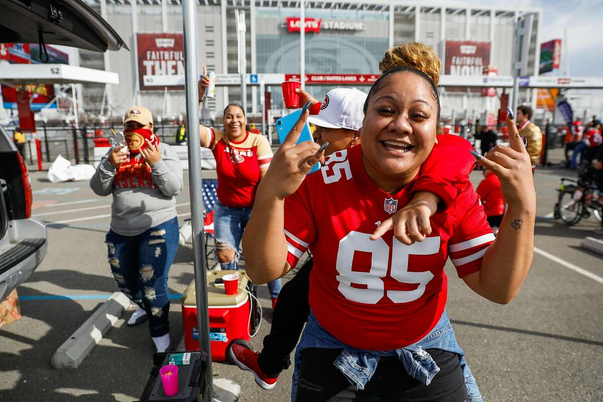 Jazmarie Haro dances outside of Levi�s stadium ahead of the NFC Championship game between the San Francisco 49ers and the Green Bay Packers on Sunday, Jan. 19, 2020 in Santa Clara, California.