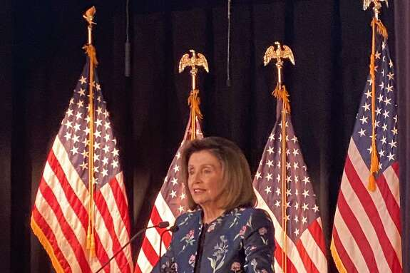 House Speaker Nancy Pelosi speaks at her annual New Year event in San Francisco.