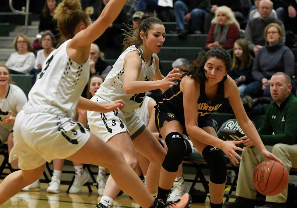 Shenendehowa's Rylee Carpenter guards Our Lady of Lourdes' Mikayla Russo as Shen's Simone Walker races in to help during a game at Shenendehowa High School in Clifton Park, N.Y., on Sunday, Jan. 19, 2020. (Jenn March, Special to the Times Union)