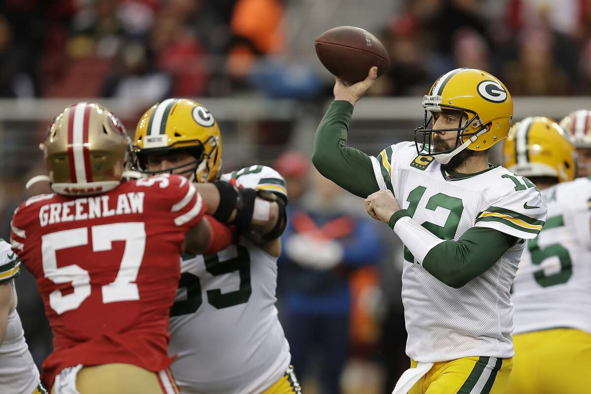 Green Bay Packers quarterback Aaron Rodgers (12) passes against the San Francisco 49ers during the first half of the NFL NFC Championship football game Sunday, Jan. 19, 2020, in Santa Clara, Calif. (AP Photo/Ben Margot)