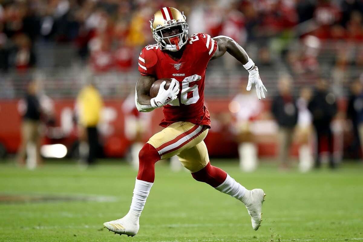 Running back Tevin Coleman of the San Francisco 49ers carries the ball against the Los Angeles Rams at Levi's Stadium on Dec. 21, 2019, in Santa Clara, Calif.