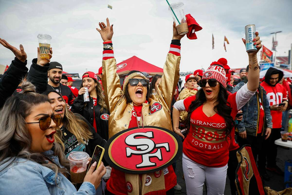 Lorena Perez Sanchez (center) cheers outside of Levi�s stadium ahead of the NFC Championship game between the San Francisco 49ers and the Green Bay Packers on Sunday, Jan. 19, 2020 in Santa Clara, California.