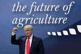 President Donald Trump attends the American Farm Bureau Federation Annual Convention in Austin, Texas, Sunday, Jan. 19, 2020. (AP Photo/Eric Gay)