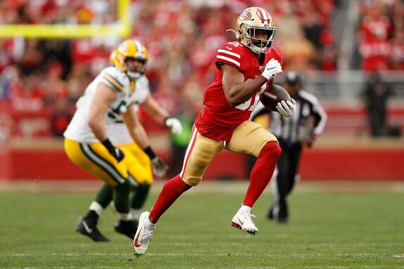 San Francisco 49ers� Raheem Mostert runs for a first quarter touchdown during the NFC Championship game between the San Francisco 49ers and the Green Bay Packers at Levi�s Stadium on Sunday, Jan. 19, 2020 in Santa Clara, Calif.