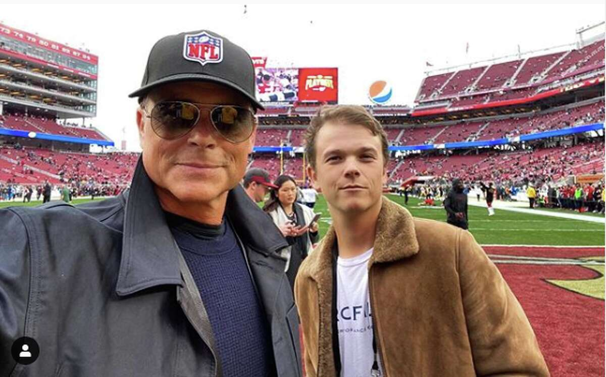 Actor Rob Lowe and his son Matthew Lowe enjoyed the 49ers-Packers NFC Championship on January 19, 2020.