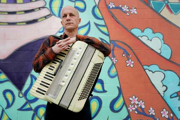 Accordionist Anthony Barilla filed a lawsuit against the City of Houston to battle the city's ordinances that restrict musicians from busking shown Friday, Jan. 17, 2020, in Houston.