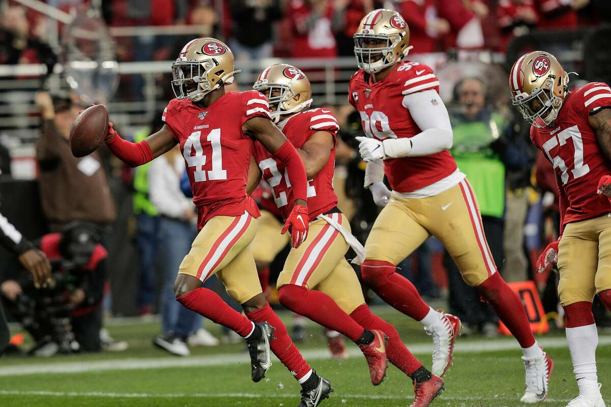 San Francisco 49ers' Emmanuel Moseley celebrates an interception in the second quarter during the NFC Championship game between the San Francisco 49ers and the Green Bay Packers at Levi's Stadium on Sunday, Jan. 19, 2020 in Santa Clara, Calif.