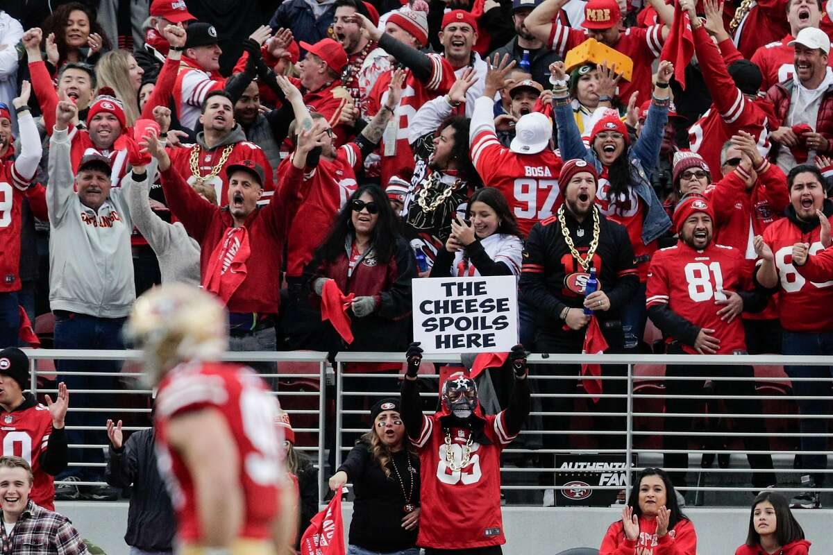 San Francisco 49ers' fans celebrate a first quarter Green Bay Packers' Aaron Rodgers sack during the NFC Championship game between the San Francisco 49ers and the Green Bay Packers at Levi's Stadium on Sunday, Jan. 19, 2020 in Santa Clara, Calif.