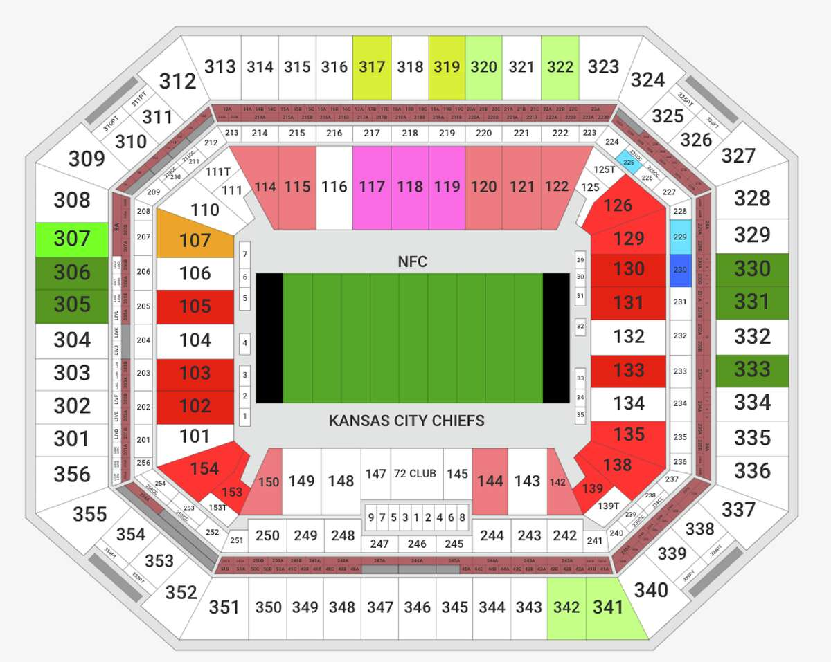 The cheapest Super Bowl seats (green) run $4,500 each. Pricer red end zone seats go for about $6,500. Fifty yard line seats (pink) are selling for a cool $15-20K each. White shows sections that are sold out