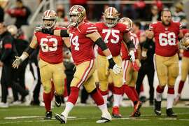San Francisco 49ers' Ben Garland reacts in the second quarter during the NFC Championship game between the San Francisco 49ers and the Green Bay Packers at Levi's Stadium on Sunday, Jan. 19, 2020 in Santa Clara, Calif.