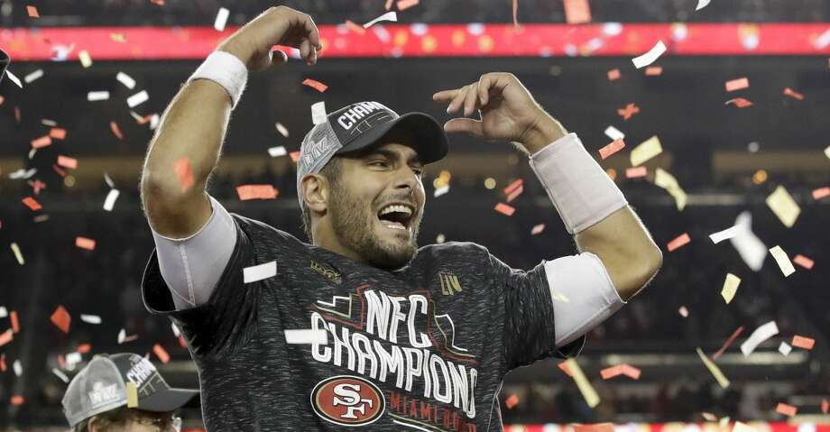 San Francisco 49ers quarterback Jimmy Garoppolo celebrates after their teams win against the Green Bay Packers in the NFL NFC Championship football game Sunday, Jan. 19, 2020, in Santa Clara, Calif. The 49ers won 37-20 to advance to Super Bowl 54 against the Kansas City Chiefs. (AP Photo/Marcio Jose Sanchez) Photo: Marcio Jose Sanchez/Associated Press