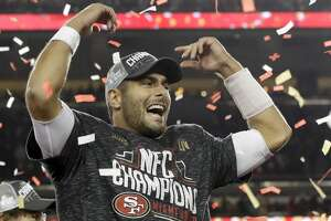 San Francisco 49ers quarterback Jimmy Garoppolo celebrates after their teams win against the Green Bay Packers in the NFL NFC Championship football game Sunday, Jan. 19, 2020, in Santa Clara, Calif. The 49ers won 37-20 to advance to Super Bowl 54 against the Kansas City Chiefs. (AP Photo/Marcio Jose Sanchez)