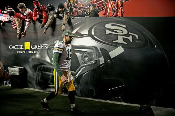 Green Bay Packers quarterback Aaron Rodgers (12) exits following the NFC Championship Game at Levi's Stadium, Sunday, Jan. 19, 2020, in San Francisco, Calif. The San Francisco 49ers won 37-20 against the Green Bay Packers. The 49ers will play the Kansas City Chiefs in the Super Bowl.