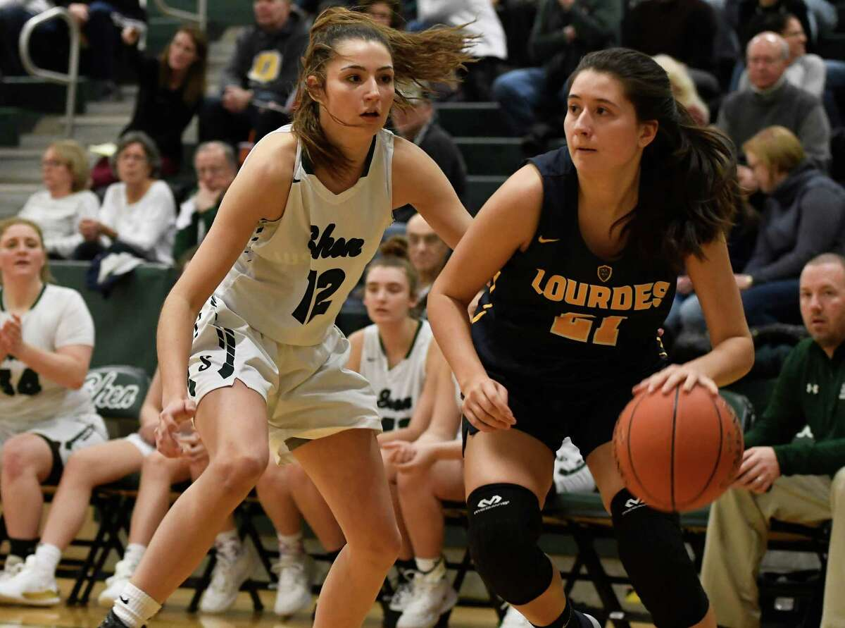 Shenendehowa's Rylee Carpenter guards Our Lady of Lourdes' Mikayla Russo during a game at Shenendehowa High School in Clifton Park, N.Y., on Sunday, Jan. 19, 2020. (Jenn March, Special to the Times Union)