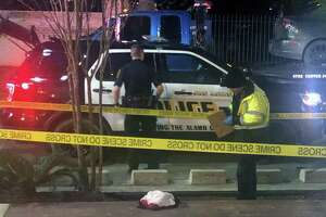 Police investigate the scene Sunday night, Jan. 19, 2020 of a shooting at the Ventura San Antonio bar in the 1000 Block of Ave. B not far from VFW Post 76. Two people were killed and five were injured in the shooting that occurred about 8 p.m. Police were looking for the suspect as of 10 p.m. Sunday night.