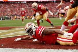 San Francisco 49ers� Raheem Mostert celebrates after scoring a touchdown in the first quarter during the NFC Championship game between the San Francisco 49ers and the Green Bay Packers at Levi�s Stadium on Sunday, Jan. 19, 2020 in Santa Clara, Calif.