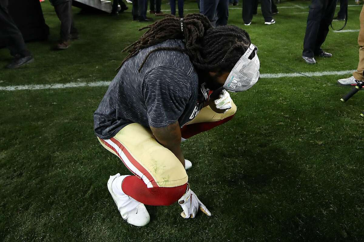 SANTA CLARA, CALIFORNIA - JANUARY 19: Richard Sherman #25 of the San Francisco 49ers celebrates after winning the NFC Championship game against the Green Bay Packers at Levi's Stadium on January 19, 2020 in Santa Clara, California. The 49ers beat the Packers 37-20. (Photo by Ezra Shaw/Getty Images)