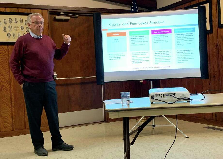 David Kepler,Four Lakes Task Force chairperson, speaks at a town hall meeting on Jan. 17, 2020at the Swanton Memorial Center in Sanford. (Mitchell Kukulka/Mitchell.Kukulka@mdn.net)