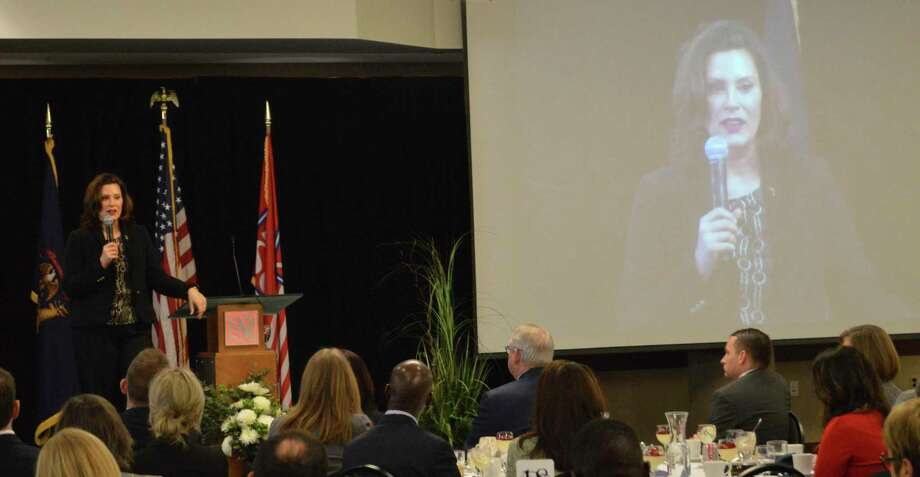 Governor Gretchen Whitmer speaks at a luncheon hosted by the Great Lakes Bay Economic Club at Saginaw Valley State University on Jan. 17. (Mitchell Kukulka/Mitchell.Kukulka@mdn.net)
