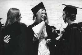 New York - Hudson Valley Community College commencement - weathering the heat - Miss Kathy L. Millard, 19 years, Valley Falls; Ms. Karen L. Matteo, 24 years, Mechanicville; Ms. Susan R. Lang, 20 years, Troy - all are Medical Tech grads. May 27, 1978 (Bob Richey/Times Union Archive)