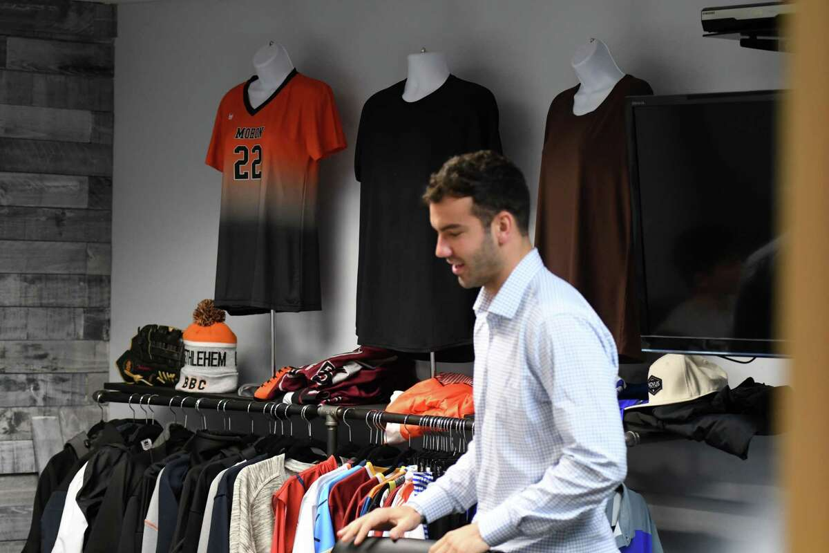 The Bernardo, Goldstein & Quinn bail bondsman agency is branching out into the clothing business to help offset losses in the wake of New York's bail reform law on Friday, Jan. 17, 2020, in Colonie, N.Y. (Will Waldron/Times Union)