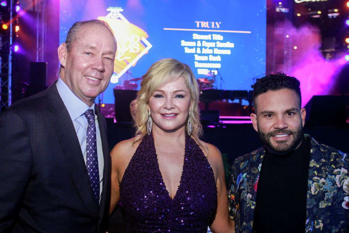 Jim and Whitney Crane, from left, with Jose Altuve at the Astros Foundation's Diamond Dreams gala at Minute Maid Park on January 17, 2020.