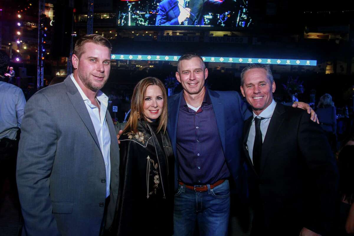 Brandon Backe, from left, Patty Biggio, Chris Sampson and Craig Biggio at the Astros Foundation's Diamond Dreams gala at Minute Maid Park on January 17, 2020.