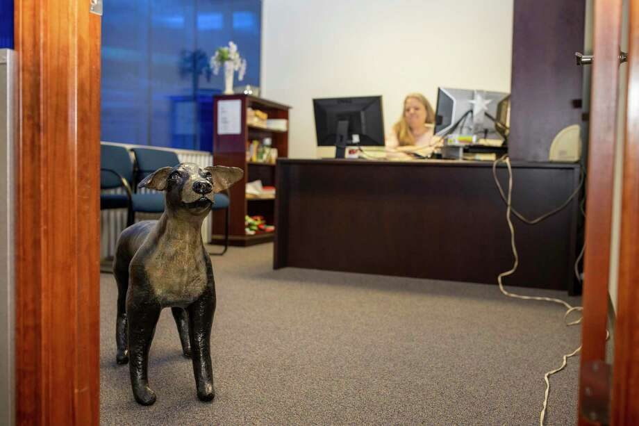CoCo, the unofficial papier-mâché newsroom's mascot, was delivered by a mystery woman driving a yellow Jeep summer 2017. CoCo sits in longtime Courier employee Debra Garling's office. Photo: Gustavo Huerta, Houston Chronicle / Staff Photographer / Houston Chronicle