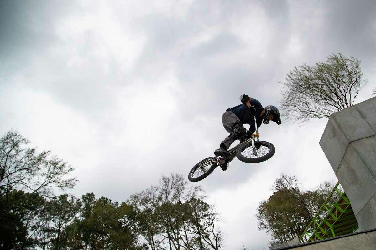 John Rangel, 36, practices on his bmx on Friday, Jan. 10, 2020, at the Rockstar Energy Bike Park in Greenspoint.