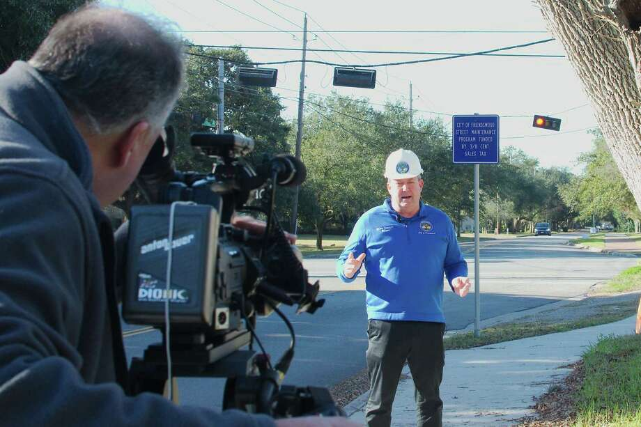 """Friendswood city communications specialist Jeff Newpher works the camera as Friendswood Mayor Mike Foreman speaks during the filming of """"Mayor Mike's Minute."""" The series has reached more than 40 segments since Foreman took office nearly two years ago. Photo: Kirk Sides / Staff Photographer / © 2019 Kirk Sides / Houston Chronicle"""