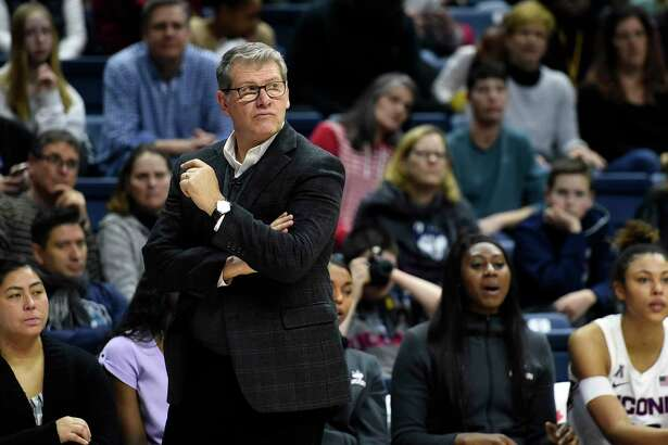 Connecticut head coach Geno Auriemma watches his team during the second half of an NCAA college basketball game against Tulsa Sunday, Jan. 19, 2020, in Storrs, Conn. (AP Photo/Stephen Dunn)