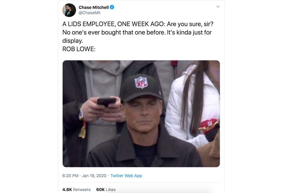 Rob Lowe got in the cross-hairs of fans on Twitter after showing up to the Packers-49ers NFC Championship in a hat with a generic NFL logo. Photo: Screenshot Via Twitter
