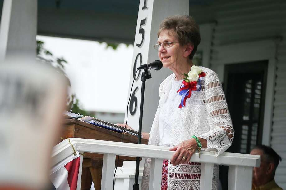 Carolyn Meadow Walker speaks during the Montgomery County Historical Marker Plaque Dedication of the Grogan-Cochran House on Saturday, June 3, 2017, at the Heritage Museum in Conroe. Photo: Michael Minasi, Staff Photographer / Houston Chronicle / © 2017 Houston Chronicle