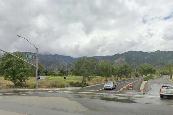 The intersection of Temescal Canyon Road and Trilogy Parkway, where the hit-and-run occurred.