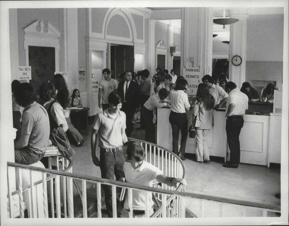 The main lobby of Schenectady County Community College is bustling in 1972.