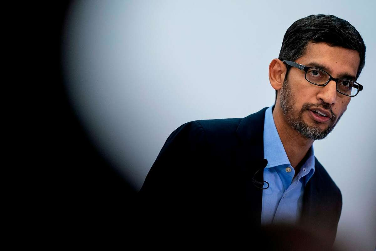 Google CEO Sundar Pichai speaks during a conference in Brussels on January 20, 2020. (Photo by Kenzo TRIBOUILLARD / AFP) (Photo by KENZO TRIBOUILLARD/AFP via Getty Images)