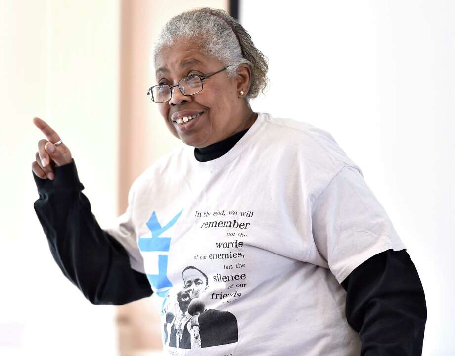"""New Haven, Connecticut - Saturday,  January 20, 2020:  Joy Donaldson of Hamden gives a presentation """"Martin Luther King, Jr. in Word and Song"""" at the New Haven Museum during the 24th Annual Dr. Martin Luther King, Jr.'s Legacy of Environmental and Social Justice 2020 presented by the Yale Peabody Museum. Photo: Peter Hvizdak, Hearst Connecticut Media / New Haven Register"""
