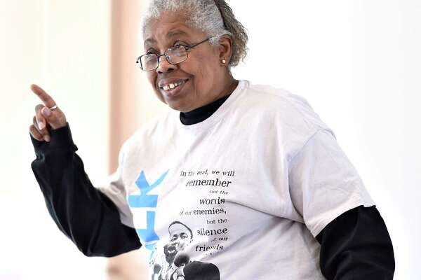 """New Haven, Connecticut - Saturday, January 20, 2020: Joy Donaldson of Hamden gives a presentation """"Martin Luther King, Jr. in Word and Song"""" at the New Haven Museum during the 24th Annual Dr. Martin Luther King, Jr.'s Legacy of Environmental and Social Justice 2020 presented by the Yale Peabody Museum."""