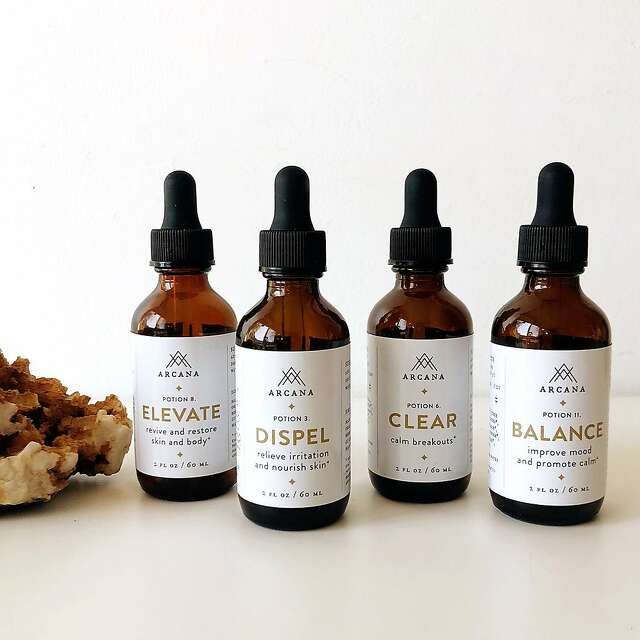 Arcana herbal tinctures, above, created by herbalist Anna Hsieh Gold, below left.