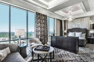 Presidential suite master bedroom at The Post Oak Hotel at Uptown Houston.