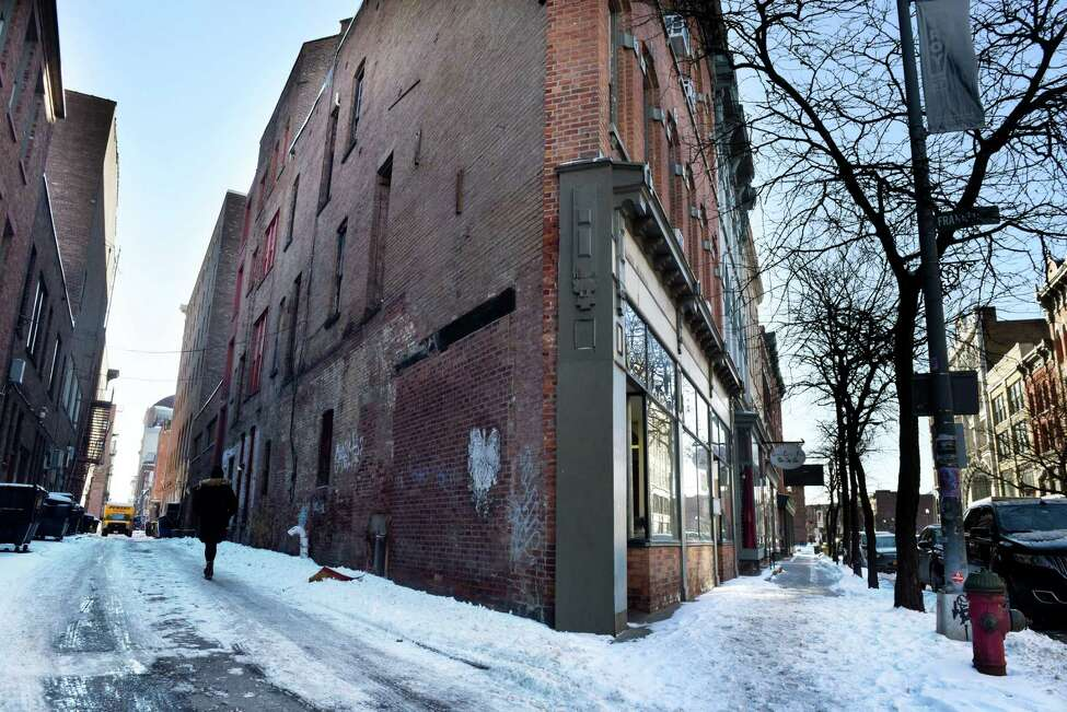 View looking down Franklin Street, left, at River on Monday, Jan. 20, 2020, in Troy, N.Y. A $325,000 revamping of the alley is moving ahead. It's considered a pilot project for what can be done in Troy's alleys. (Will Waldron/Times Union)