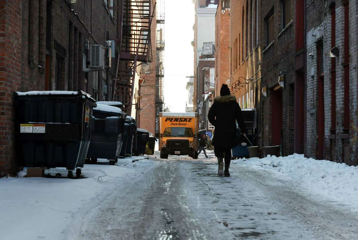View looking down Franklin Street from River on Monday, Jan. 20, 2020, in Troy, N.Y. A $325,000 revamping of the alley is moving ahead. It's considered a pilot project for what can be done in Troy's alleys. (Will Waldron/Times Union)