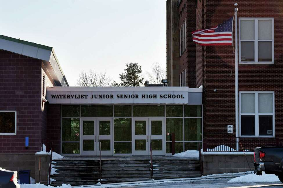 Exterior of Watervliet Junior Senior High School on Monday, Jan. 20, 2020, in Watervliet, N.Y. The school district votes Feb. 4 on a $9.9 million bond to make repairs at two schools in district. (Will Waldron/Times Union)