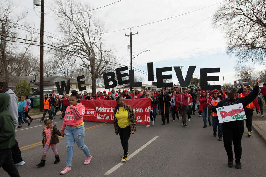 Tens of thousands of San Antonians of all races and creeds participated Monday, Jan. 20, 2020, in the city's 33rd march, which goes along Martin Luther King Jr. Drive on the East Side from Martin Luther King Jr. Academy to Pittman-Sullivan Park.