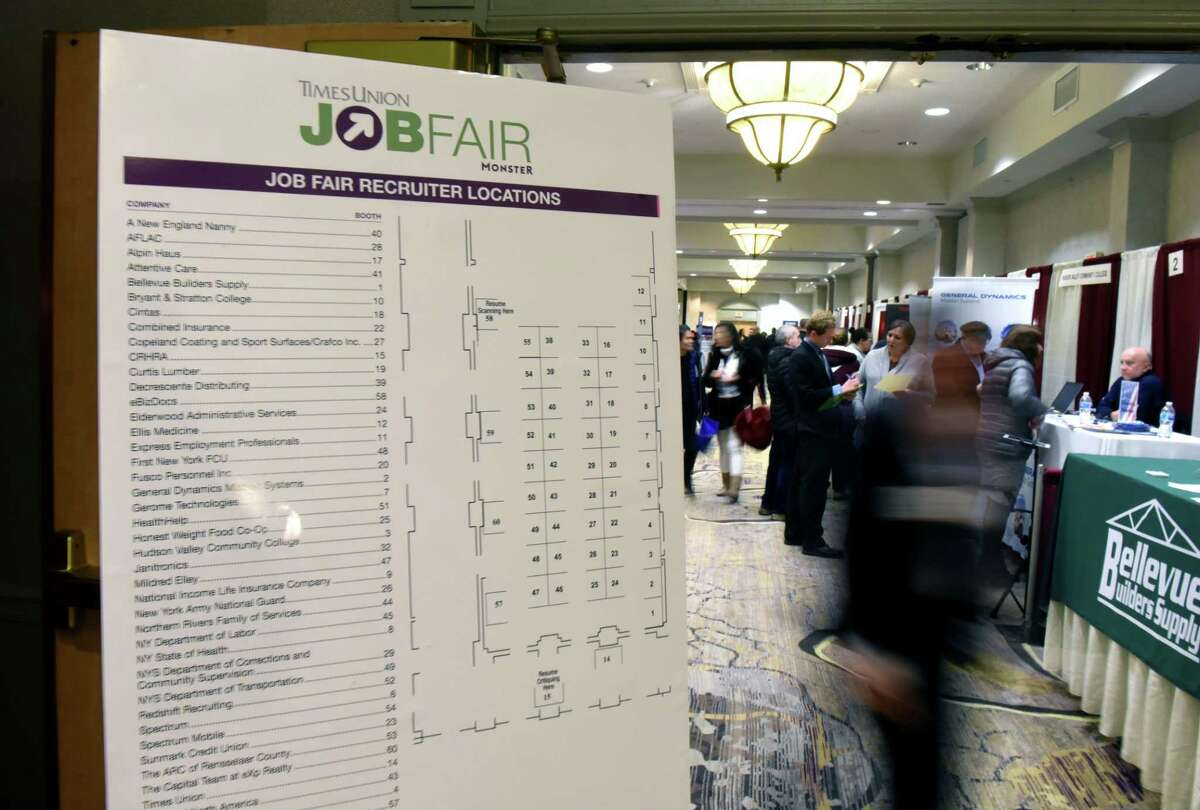 Exhibitors are listed for the Times Union Job Fair on Monday, Jan. 20, 2020, at the Albany Marriott Hotel in Colonie, N.Y. (Will Waldron/Times Union)