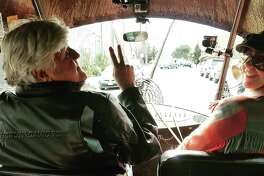Jay Leno took to Oakland to visit Form & Reform, home to the snail art car, Golden Mean.