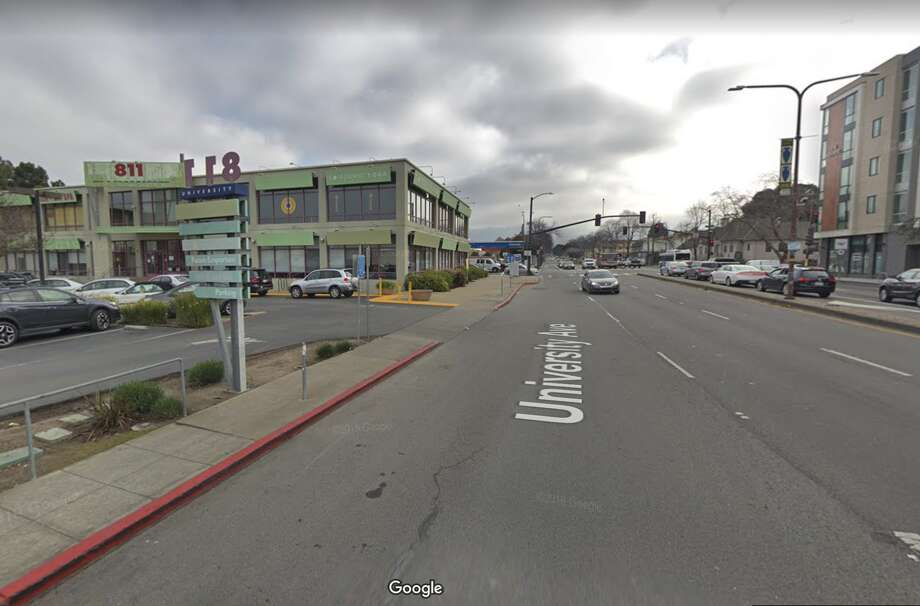 Sixth and University in Berkeley, where police say a person on the sidewalk was struck and killed on Jan. 20, 2020. Photo: Google Street View
