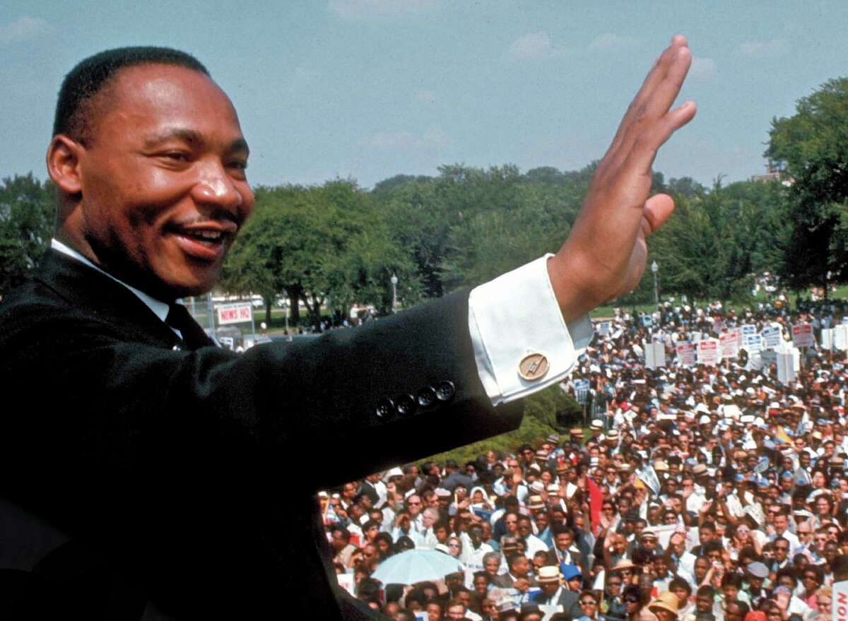 Dr. Martin Luther King Jr. giving his I Have a Dream speech to huge crowd gathered for the Mall in Washington, D.C., during the March on Washington for Jobs and Freedom (aka the Freedom March)