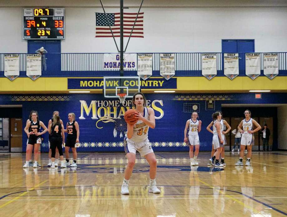 Morley Stanwood junior Brooke Brauher attempts a technical free-throw during the Mohawks' 43-33 win over White Cloud on Jan. 17. (Pioneer file photo/Joe Judd)